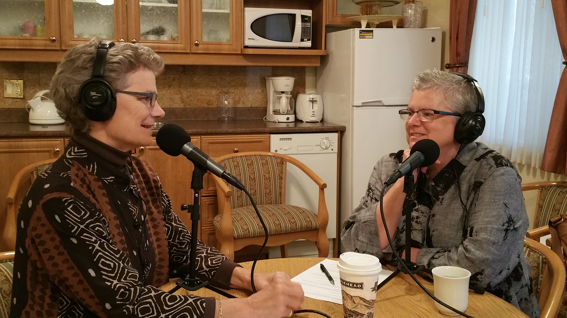 Laura Divine and Joanne Hunt of Integral Coaching Canada ready for podcasting